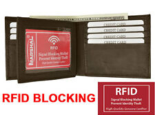 RFID Blocking Safe Mens Bifold Card Id Credit Flap Leather Wallet Brown