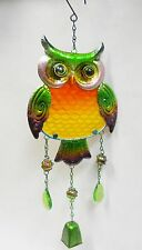 """Owl Bell Wind Chime- Metal Sun Catcher, Fused Glass, Marbles, Faceted Beads  21"""""""