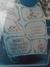 vtg stamped cross stitch kit baby crib quilt cover blanket duck Come Play 32x37