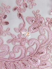 CINDERELLA FLORAL SEQUINS LACE FABRIC - Pink - BY YARD BRIDAL DECOR DRESS GOWN