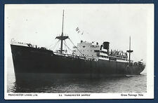 SS MANCHESTER SHIPPER Manchester Liners Cargo Ship BW RPPC