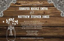 Wedding Invitations Wood Lace Mason Jar Rustic 50 Invitations & RSVP Cards