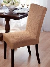 "VELVET ""STRETCH"" DAMASK DINING CHAIR COVER--BEIGE--COMES IN 4 COLORS-CLEARANCE"