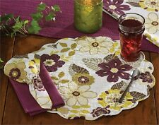 Isabella Floral Cotton Round Placemat ~ Quilted