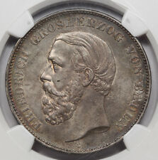 1875 G GERMANY Baden Five 5 Mark Silver Coin NGC AU55 KM #263.2 Friedrich I AU+