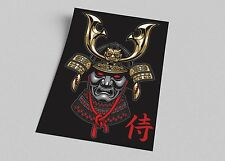 ACEO Japanese Samurai Mask Pop Art on Canvas Giclee Print