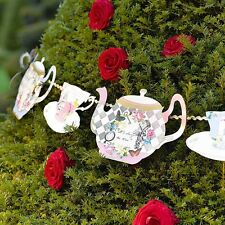 Vintage Style Alice in Wonderland Teapot Bunting Mad Hatter Tea Party Decoration