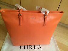 Furla Womens Leather Shopper Bag Orange Medium Zip