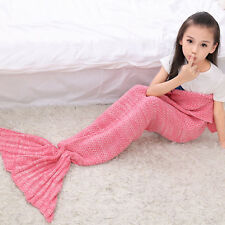 Baby/Kids/Adults Fish Scale Mermaid Tail Crocheted Knit Lapghan Blankets Costume
