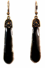 ELEGANT LADIES UNIQUE  BLACK BRONZE ZIP STYLE EARRING BRAND NEW UNIQUE (A15)