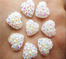 NEW DIY 40PCS White Resin Heart flatback Scrapbooking for phone/wedding/craft  E