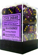 Chessex Dice Sets Gemini 4 12mm D6 Black Purple Gold 36 Die CHX 26840