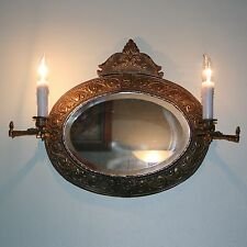 Vtg Antique Oval Beveled Glass Wall Mirror Ornate Tin Lamp Light Candle Sconces