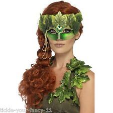 Women's Forest Nymph Eyemask Fabric Leaves Jewels Fancy Dress Masquerade Ball