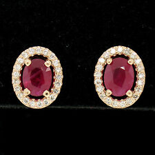 14k Rose Gold 2.54ctw Oval Blood Red Ruby Solitaire Earrings Pave Diamond Halos