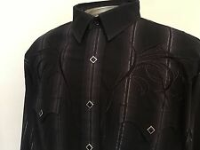 MEN'S PANHANDLE SLIM RETRO WESTERN COWBOY SHIRT DIAMOND PEARL SNAPS EMBROIDER XL