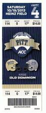 2013 PITTSBURGH PANTHERS VS OLD DOMINION COLLEGE FOOTBALL TICKET STUB 10/19/13