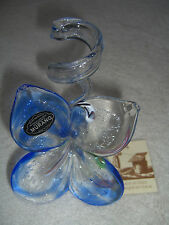 "blown glass butterfly flower vase holder pen blue murano italy art 6"" hand made"