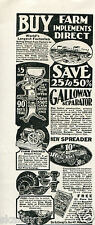 1930 Print Ad of Galloway Separator & Spreader Buy Farm Implements Direct