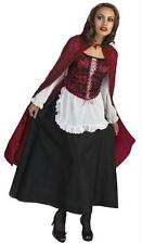 ADULT LITTLE RED RIDING HOOD DRESS HOODED CAPE COSTUME DG171 NEW