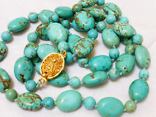 VINTAGE CHINESE 100% NATURAL BLUE TURQUOISE BEAD NECKLACE