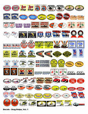 NOSTALGIC DRAG STRIP DECALS (1:18 SCALE, VOL. 1) FOR GASSER, HOT ROD, RAT ROD