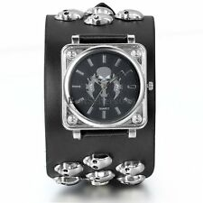 Black Punk Biker Skull Sword Wide Leather Band Bracelet Quartz Watch Wristwatch