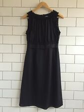 Twenty8Twelve Black Silk Crepe Party Dress With Ruffle Grosgrain. 8