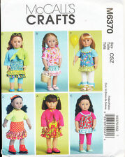 """MCCALL'S SEWING PATTERN 6370 18"""" DOLL CLOTHES: DRESSES TOPS SKIRT PANTS LEGGINGS"""