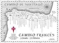 Camino de Santiago Antique Like Camino Frances Pilgrim Map