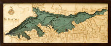 "BIG BEAR LAKE, CA 13.5"" x 31"" New, Laser-Cut 3-Dimen Wood Chart/Lake Art Map"