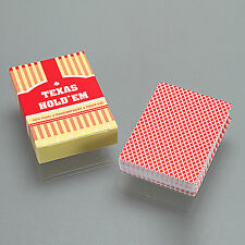 Red Texas Hold'em Poker Playing Cards Plastic Standard Index Poker Size 1 Deck