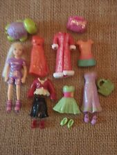 Polly Pocket Lot Doll Glitter Sparkly Sparkle Clothes Outfits Shoes Pet Lot F37
