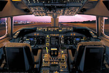 Boeing 747-400 Flight Deck Poster Print, 36x24