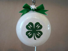 """UNIQUE Handmade 4-H 3"""" Glass Ball Shaped Christmas Ornament~Made In The USA, NEW"""
