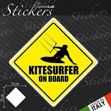 Adesivo Stickers Segnale Sign KITESURFER ON BOARD a bordo auto moto