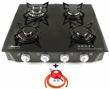 Gas Stove Hob 4 Burner Glass Black Auto Ignition LPG Cooker Outdoor Garden 8.7kW