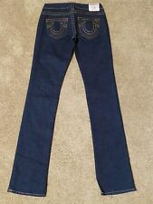 (26) True Religion Johnny Straight Leg Dark wash Stretch Sz 26