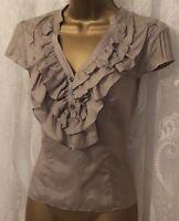 Karen Millen Frill V Neck Pintuck Cap Sleeve Soft Silk Drape Top Blouse 8 14 £99