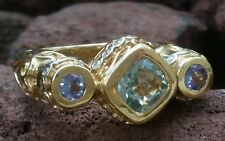 Vintage 14k Yellow Gold Aquamarine Tanzanite Diamond Ring Estate Jewelry 10.6 gm