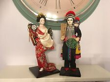 Beautful Japanese Doll Geisha Doll In Red Kimono Also another Japanese figure
