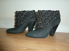 Zara Woman Black Nubuck Leather Chain Ankle Boots EUR 41