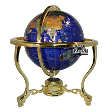 NEW Unique Art 13-Inch Tall Bahama Blue Pearl Table Top Gemstone World Globe