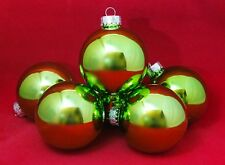 "Light Green 3"" Shiny Ball Glass Ornament Set 6 Christmas Shoppe Easter Craft"