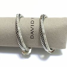 David Yurman Sterling Silver 31mm Medium Crossover Diamond Hoop Earrings