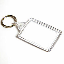 10 BLANK CLEAR LARGE CROSS STITCH KEYRINGS 50mm x 35mm