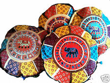 NEW FUNKY HIPPY BOHO GUJARATI TRIBAL PATCHWORK CUSHION COVER bright round L 480