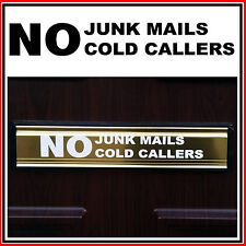 No Junk Mails / Cold Callers Letterbox Sticker - Transfer - Decal-