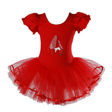 New Girls Red Ballet Dance Tutu Dress 5-6 Years