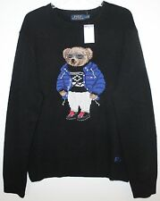 Polo Ralph Lauren Mens Black RL Polo RLX Ski Bear Wool Sweater NWT $395 XL